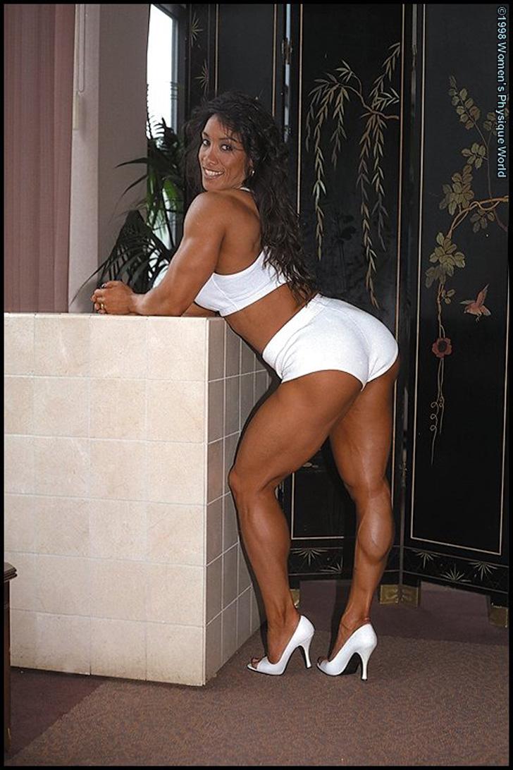 Denise Masino Posing Her Muscular Legs In Heels