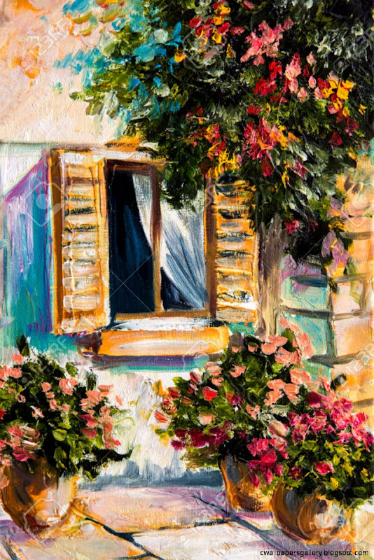 Oil Painting   Beautiful Nature Colorful Flowers Greek Street