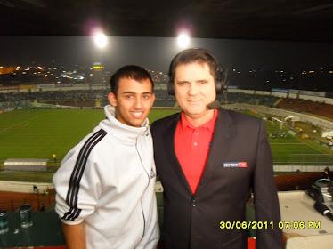 Junto com o narrador da SporTV, Linhares Júnior