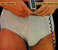 Propaganda de modelo de cueca com lycra e algodão apresentada em 1984.