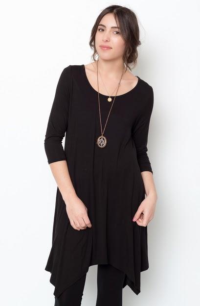 Buy online black asymmetrical oversized hem tee dress for women on sale