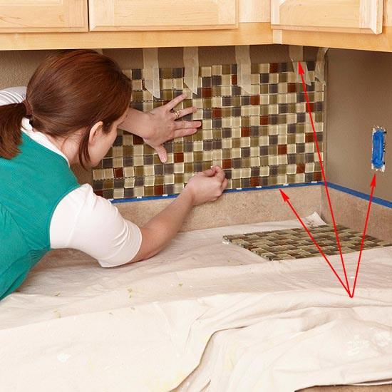 Замера первого ряда фартука для кухни