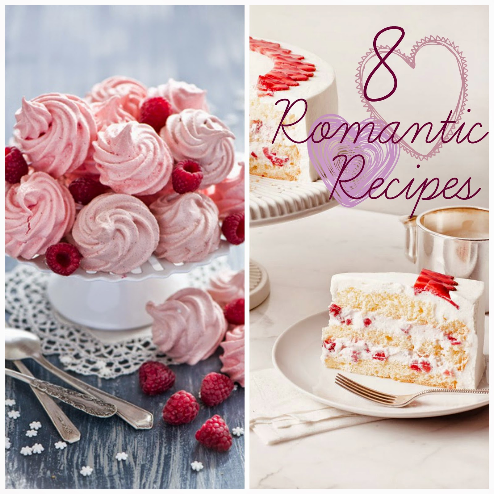 raspberry meringue swirls and strawberry shortcake - 8 romantic recipes