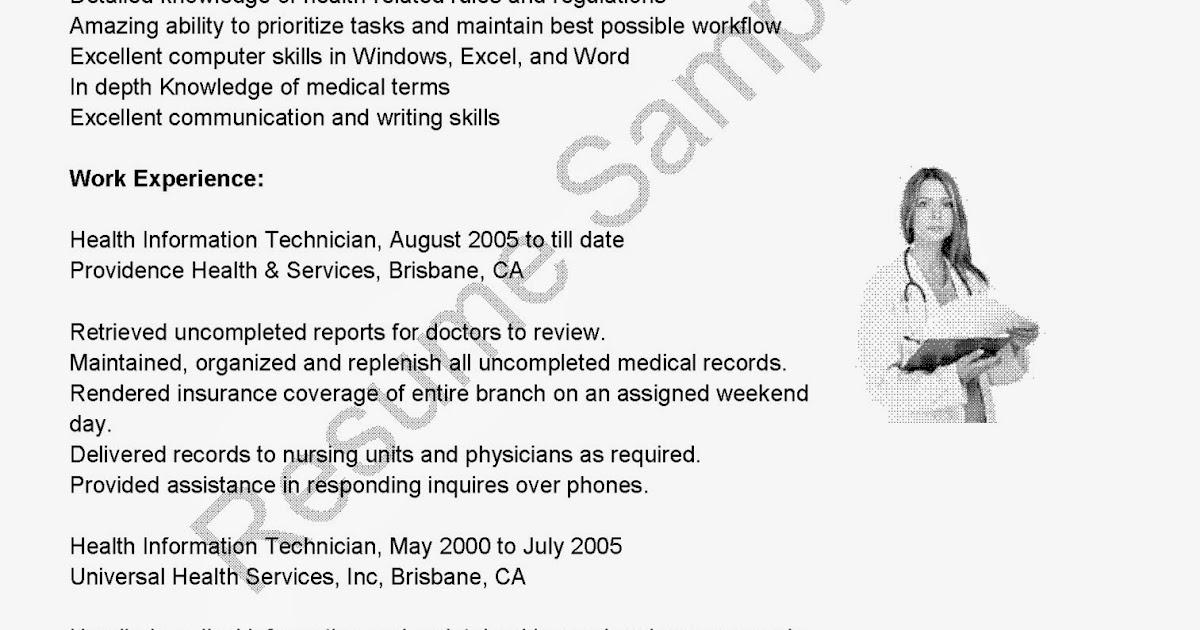 resume samples  health information technician resume sample