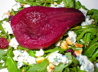Wine Poached Bosc Pear Salad