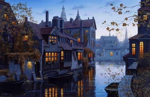 04-Autumn-Evening-in-Brugge-Evgeny-Lushpin-Scenes-of-Realistic-Night-Time-Paintings-www-designstack-co