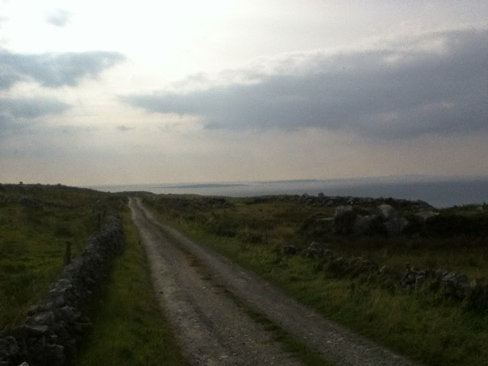 A Lane in The Burren, Aran Islands in the Distance Co. Clare, Ireland