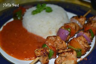 Chicken shashlik| Sauce| Rice| Boiled rice| Spicy| Snacks| Meal| Capsicum| Onion| Tomato| Shashlik sticks
