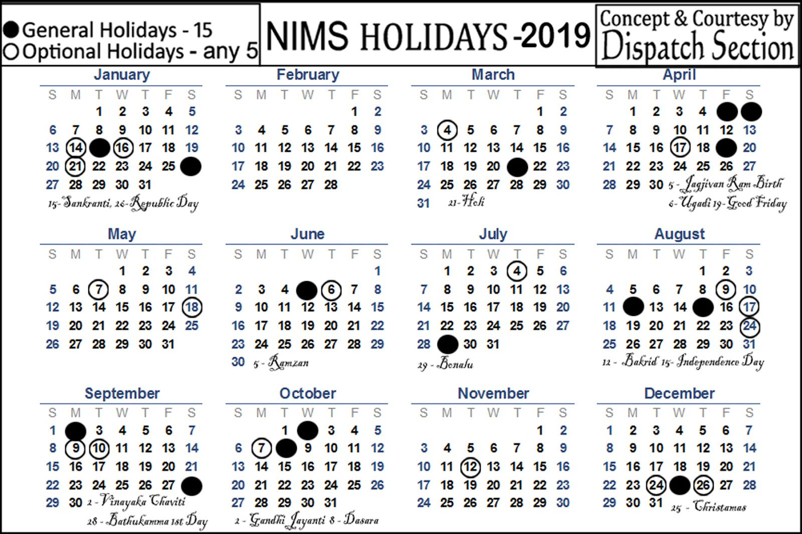 NIMS Holidays List 2019 ..Click on to Enlarge