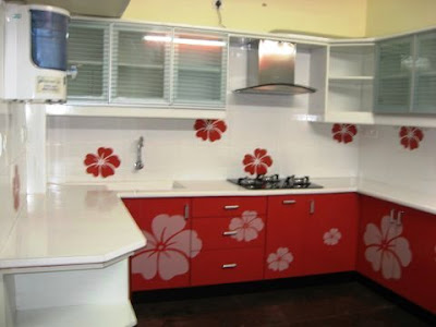 modular kitchen with acrylic solid surface tops and doors- chennai