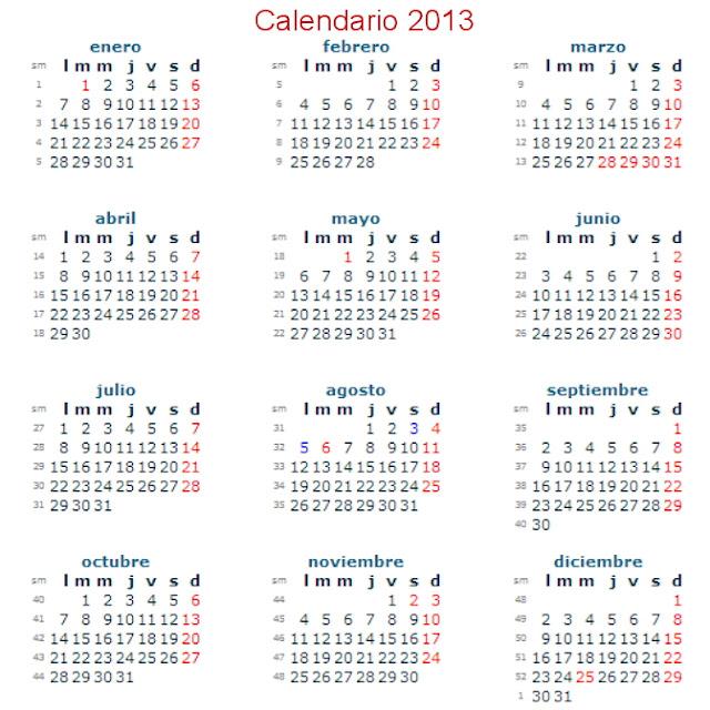Calendario 2013 gratis  para descargar