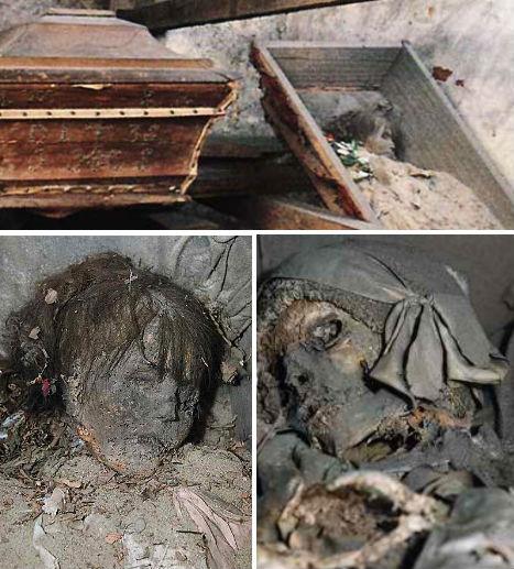 Múmias da Cripta de Cracóvia, que foram preservadas naturalmente devido ao microclima do local.