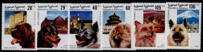2000年サハラ・アラブ民主共和国(西サハラ) ナポリタン・マスティフ ボースロン ノルウェジアン・エルクハウンド チャウ・チャウ オーストラリアン・テリア 秋田犬の切手