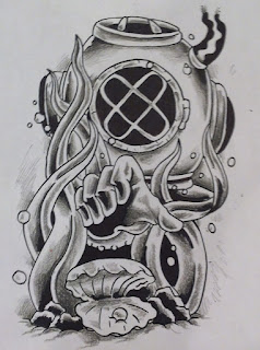 Deep sea diver ocean tattoo design cincinnati tattoo cincinnati tattooist cincinnati tattoo artist
