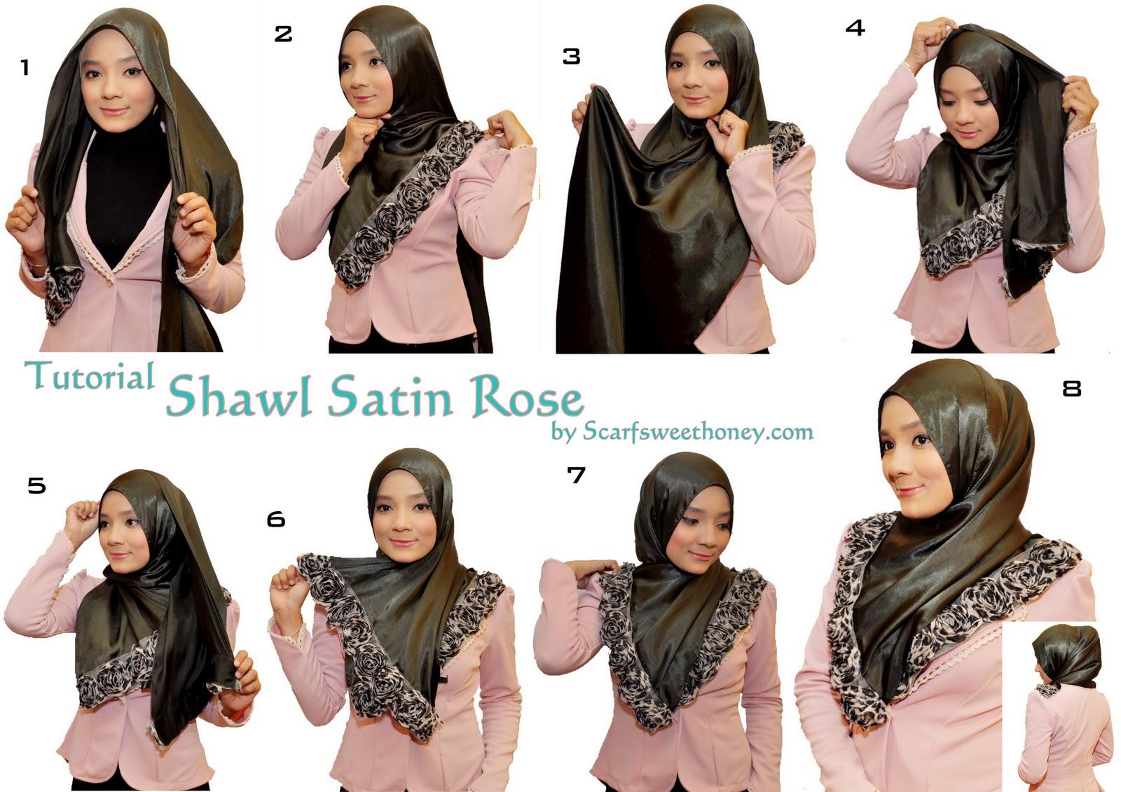 Cara Memakai Shawl Satin Rose Style 1 - Tutorial Memakai