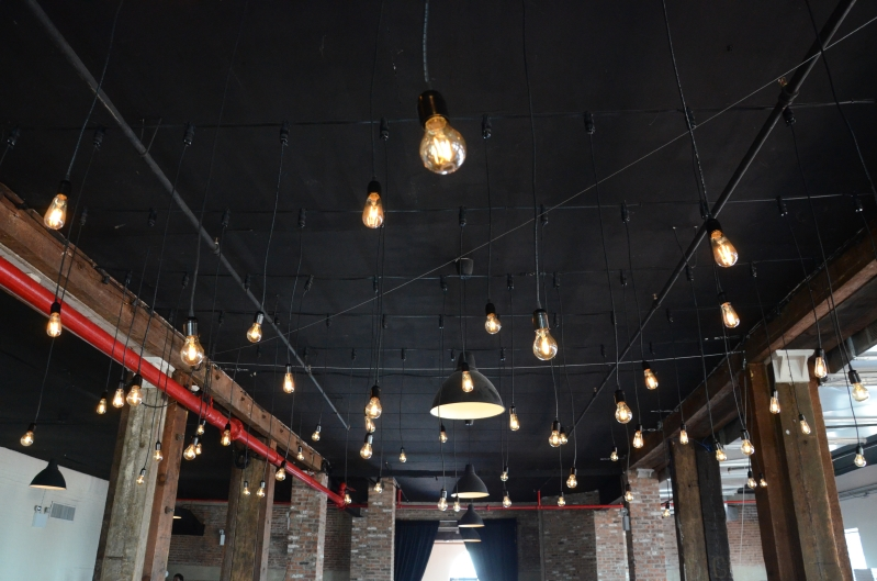 Universal light and sound recent events vertical pendant lamps suspended multiple individual pendant lamps with vintage antique edison bulbs vertically over the dance floor at the liberty warehouse aloadofball Gallery