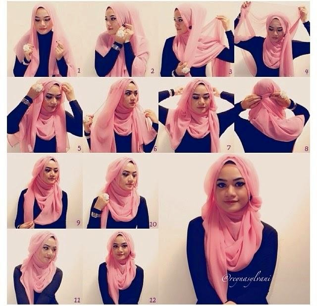 Model jilbab paris untuk wajah bulat terbaru 2015 dan cara memakainya