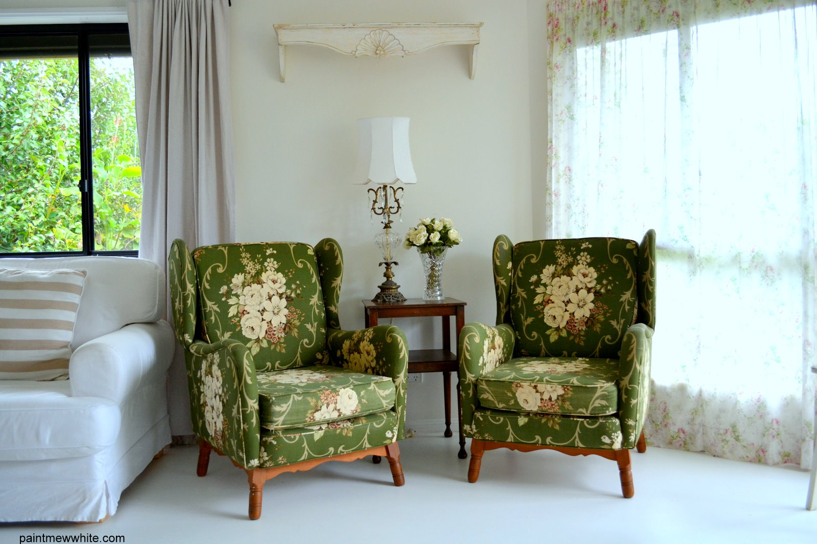 These Gorgeous Vintage Wing Chairs Are Just So Comfortable And So Damm  Cute. Iu0027m Pretty Sure This Is A Vintage Warwick Fabric Which Just Seems To  Get Better ...
