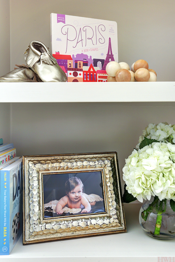 Baby Girl's Lavender Nursery - bookshelf styling| Honey We're Home