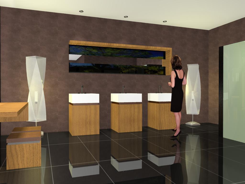 3D VIEW: Projeto de Banheiro para Shopping Center #936B38 1024 768