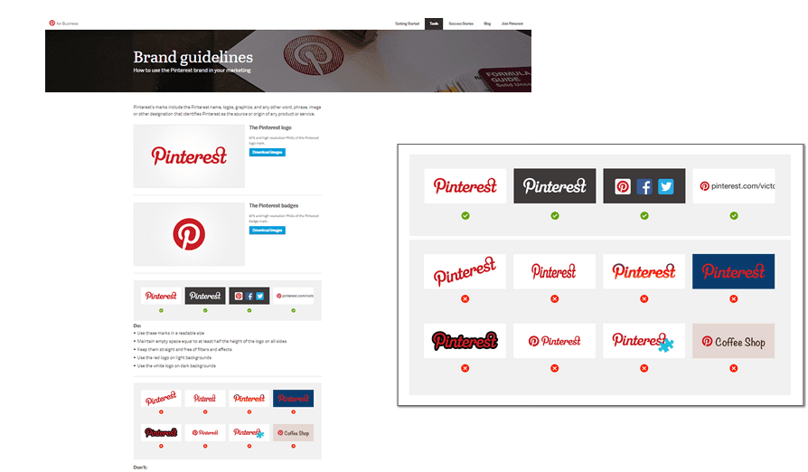 Pinterest brand guidelines with a range of do's and don'ts