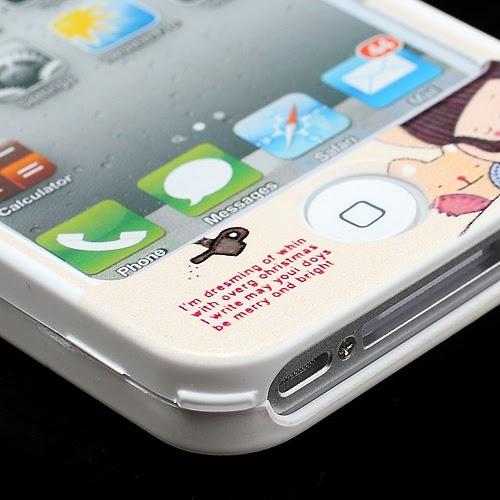 Happymori Cartoon Girl & Bear : Front & Back Snap-On Hard Case for iPhone 4 4S