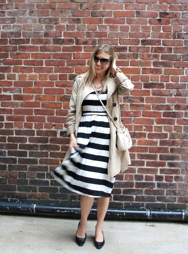 Striped Dress + Trench
