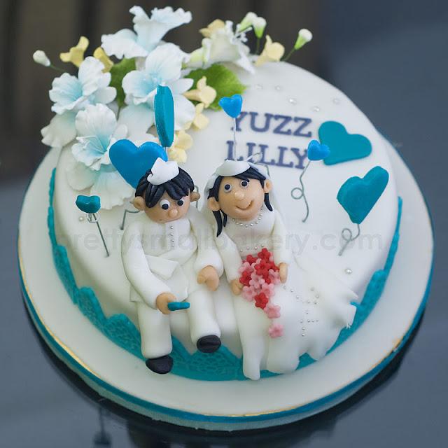 kek kahwin yang sangat comel