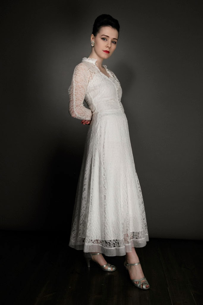 1940s Lace Dress With Jacket And Rayon Underslip 995