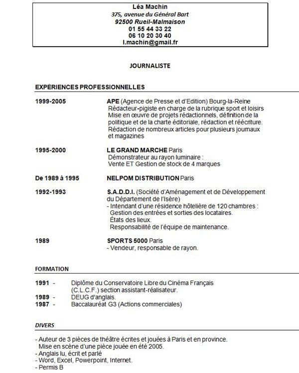 Un CV gratuit à télécharger gratuitement.