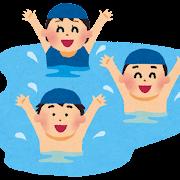 プール・海で遊ぶ子供達のイラスト