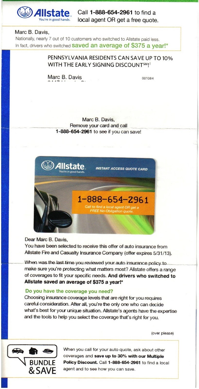 All State Insurance Quote Mail That Fails Amica Allstate Walmart Bad Timing On Car
