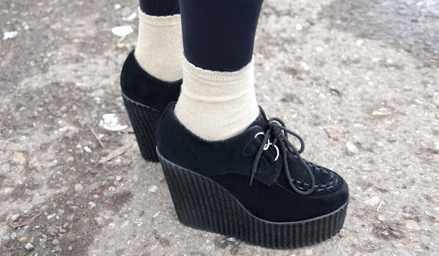 creepers, golden socks, wedges, London