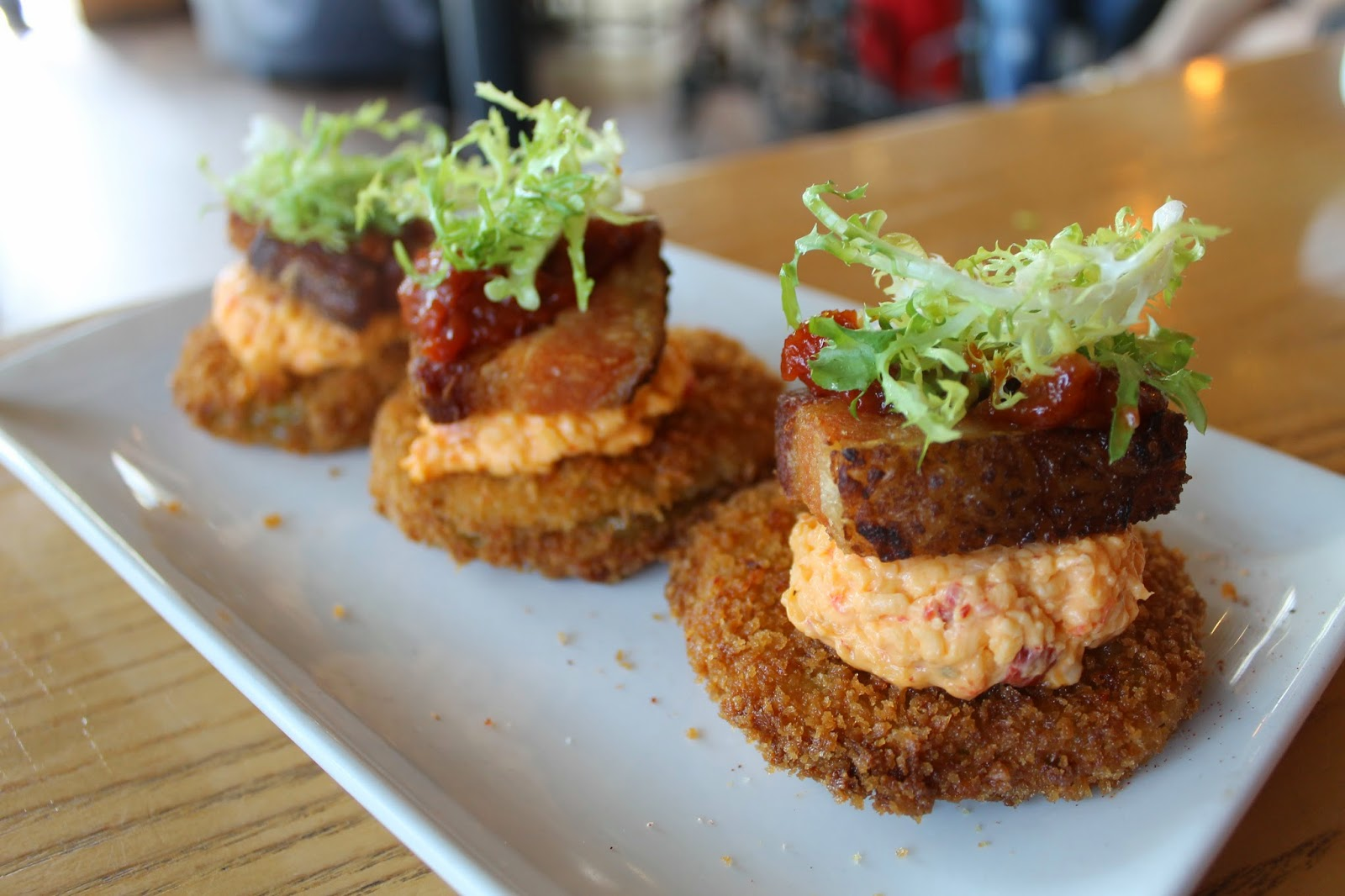 Fried Green Tomato BLT, $14: Pork belly, greens, fried green tomatoes ...