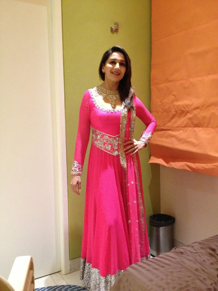Madhuri Dixi Pink Long Anarkali dress