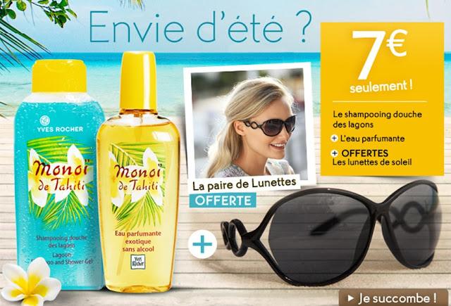 Yves Rocher: shampooing monoï + eau parfumante exotique + 1 paire de lunettes de soleil gratuite +  1 cadeau offert pour seulement 7€! promotion Yves rocher code promo Yves Rocher bon plan Yves Rocher