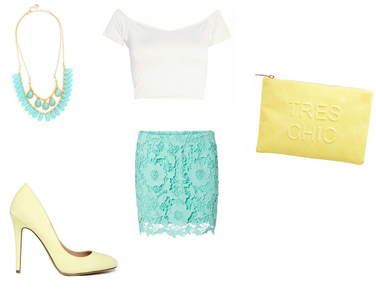 mint, blue, turquoise, lace, lace skirt, lemon, yellow, shoes, bardot top, Boohoo, clutch bag, beaded necklace, Miss Selfridge, ASOS,