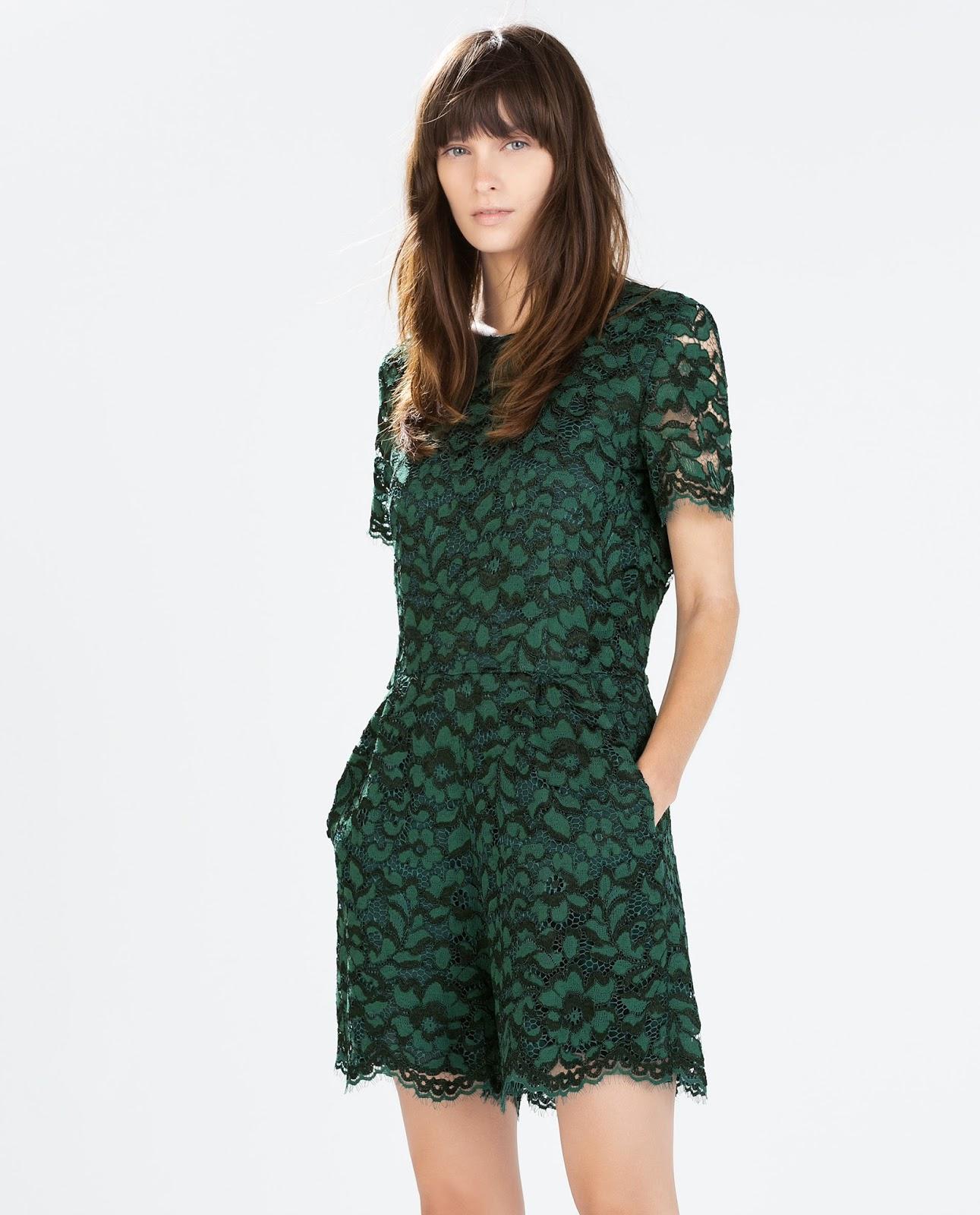 zara green playsuit