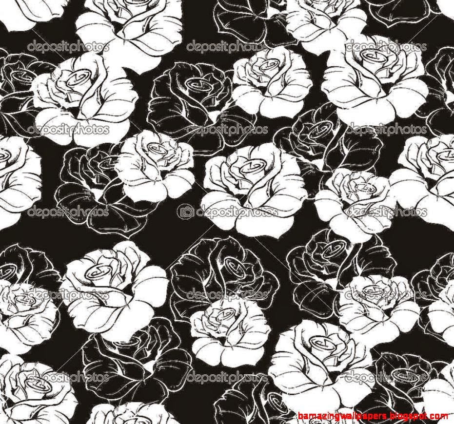 Seamless vector dark fl pattern with white retro roses on