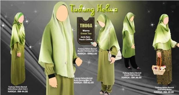 green tea warna tudung selendang helwa