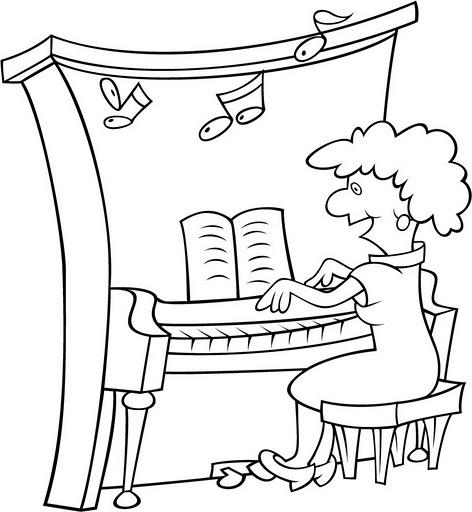 Maestra de piano para colorear