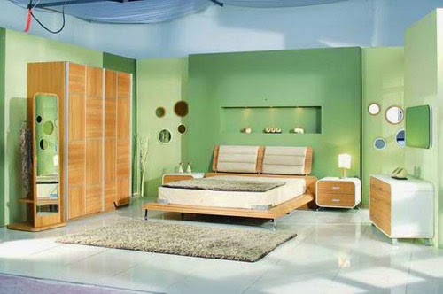green bedroom with retro furniture set