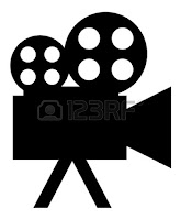 Black icon of a movie camera