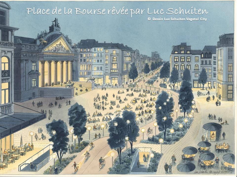 Place de la Bourse rêvée par Luc Schuiten (Les cités végétales) - Bruxelles-Bruxellons