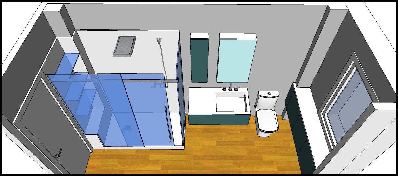 """Baño Pequeno Alargado:Los hogares que habitamos: Proyecto:""""Baño Mª Carmen Solución Azul"""