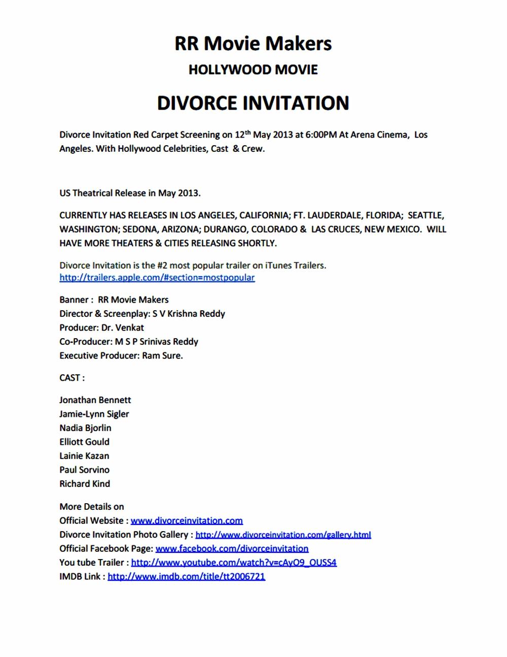 Divorce Invitation Movie Details Telugu Movies Nandamuri Fans