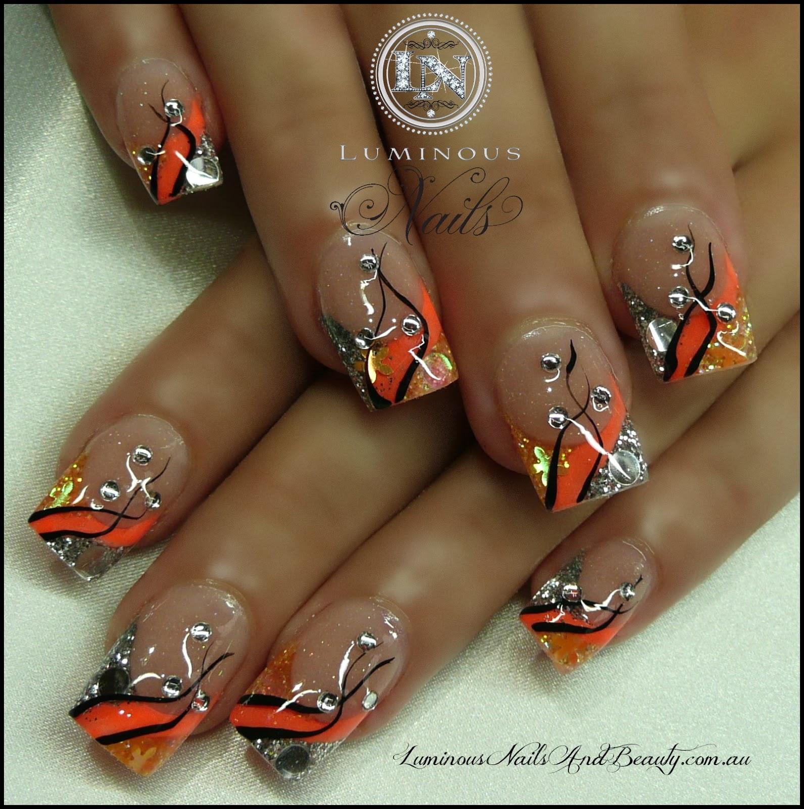 Дизайн ногтей оранжевый френч