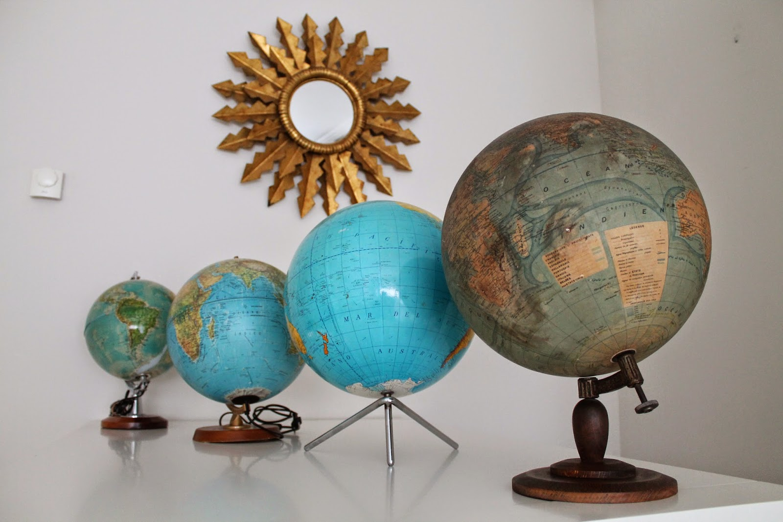 Vintager a antiguo globo terr queo o bola del mundo a os - Bola del mundo decoracion ...