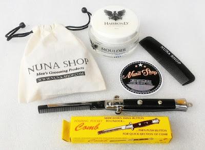 Paket Hemat Pomade Hairbond Moulder + Switchblade Comb (SB) + Pouch + Stiker + Sisir Saku