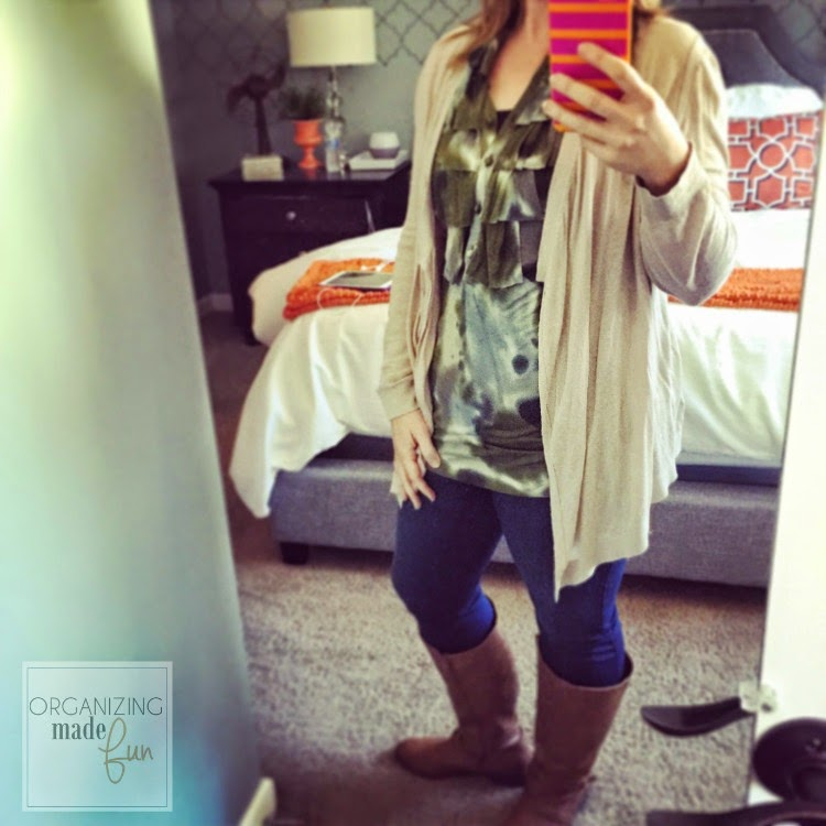 """Fashion Advice"" from an organizing blogger :: OrganizingMadeFun.com -- green tunic, cardigan, boots"